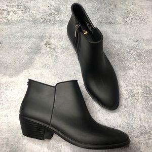 Sam Edelman Black Rubber Rain Boot Booties